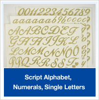 Script Alphabet, Single Letters, Numerals